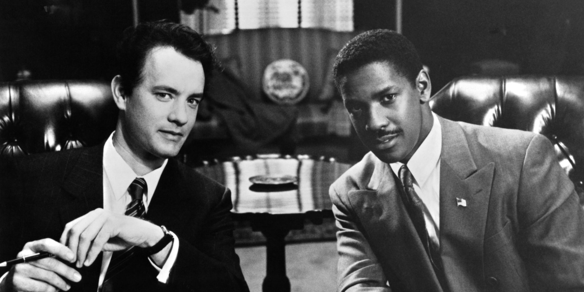 "Actors Tom Hanks and Denzel Washington on the set of the Tri Star movie "" Philadelphia"" in 1993. (Photo by Michael Ochs Archives/Getty Images)"